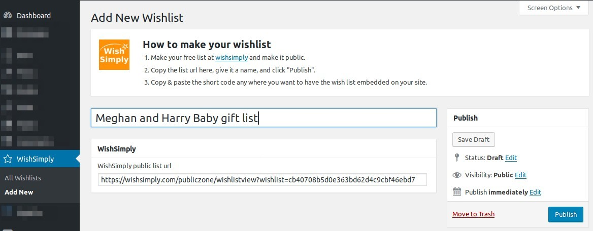 WishSimply Wordpress plugin. Screenshot 2