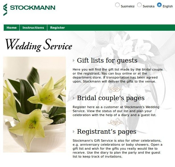 Stockmann gift service page